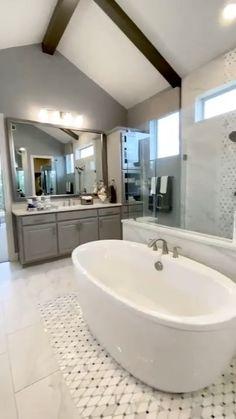 Dream Bathrooms, Beautiful Bathrooms, Luxury Master Bathrooms, White Bathrooms, Small Bathrooms, Bathroom With Gray Tile, Bathroom With Closet, Accent Tile Bathroom, Bathroom With Shower And Bath