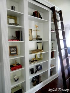 Ikea billy bookcase hack billy bookcase hack library ladder built ins and ikea billy bookcase hacks . Ikea Bookshelves, Home Office Furniture, Ikea Bookcase, Home Office Design, Home Library Decor, Billy Bookcase, Ladder Bookcase, Ikea Billy Bookcase Hack, Ikea Billy Bookcase