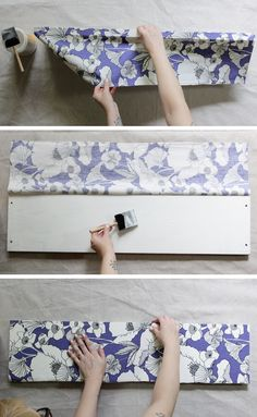 How to decoupage fabric onto shelves. - Mod Podge Rocks. I think I just found a solution to my boring white shelves.