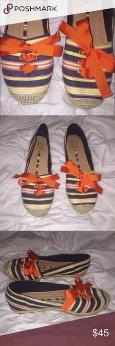New Directions Striped Bow Espadrilles NWOT, never worn striped espadrilles by New Directions. They're topped with an adjustable orange bow! Size 6.  •lowball offers will be declined •no trades •ask all questions before buying •unfair ratings from buyers are reported & buyer will be blocked - I don't misrepresent my products; what you see is exactly what you get & my prices are way more than fair. Please be kind as I always strive to be kind to you! new directions Shoes Espadrilles