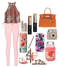 """""""Pink and brown"""" by missflosochic ❤ liked on Polyvore featuring Maison Kitsuné, Sam Edelman, Yankee Candle, Bobbi Brown Cosmetics, French Bull, Hermès and Urban Decay"""