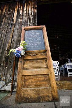 Old door backdrop for barn wedding. You can use the brown door if you wanted Porte Menu Restaurant, Rustic Wedding Menu, Wedding Reception, Wedding Doors, Wedding Signage, Vintage Doors, Antique Doors, Chalkboard Paint, Menu Chalkboard