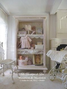Baby Nursery Cabinet - French Dollhouse 1/12th Scale Furniture