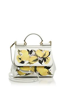 Dolce & Gabbana - Sicily Small Lemon-Print Textured Leather Top-Handle Satchel