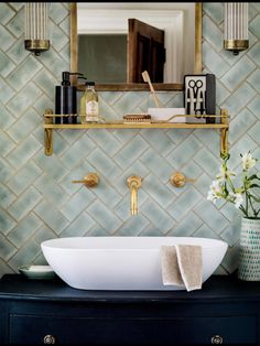 Pale sea foam colored tile with dark blue navy vanity with gold accents- neat color combo Modern Bathroom Tile, Mint Bathroom, Chevron Bathroom, Guest Bathrooms, Ensuite Bathrooms, Vintage Bathrooms, Bathroom Subway Tiles, Bathroom Fixtures, Bathroom Wall