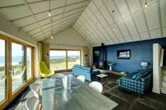 Holiday house,  Living room with views of the ocean