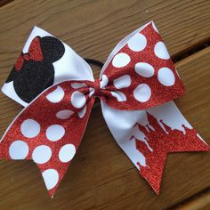 Minnie Mouse Cheer Bow by TheHairCandyShop on Etsy