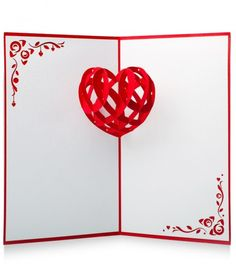 inside view of pop-up card ... Valentine/love ... pop-up heart made up of interlocking pieces ... fun!!