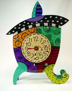 """Time to Go"" Whimsical Clock by What Will the Neighbors Think"