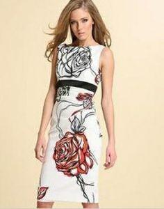 Karen Millen White Print Flowers Pencil Dress DG032