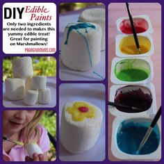 DIY Edible Paints - that's right EDIBLE & it's delicious! The Effective Pictures We Offer You About DIY Edible school supplies A quality picture can tell you many things. You can find the most beautif Decorated Marshmallows, Giant Marshmallows, Decorated Cookies, Diy Edible School Supplies, Craft Supplies, Diy For Kids, Crafts For Kids, Kids Fun, Daycare Crafts
