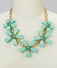 Another great find on #zulily! Gold & Mint Floral Chain-Link Bib Necklace #zulilyfinds