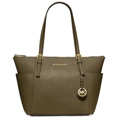MICHAEL Michael Kors 'Jet Set' Leather Tote ($248) ❤ liked on Polyvore featuring bags, handbags, tote bags, olive, genuine leather tote, michael michael kors handbags, brown tote, genuine leather handbags and zip top tote bag