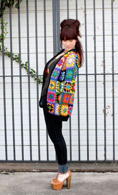 a vintage granny square cardigan seen on A Beautiful Mess. Love it!