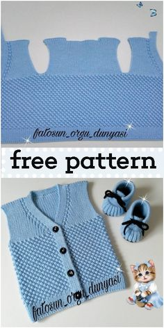 Kichererbsen stricken Baby Weste Modellbau - DIY and crafts Baby Knitting Patterns, Knitting For Kids, Baby Patterns, Knitting Tutorials, Baby Romper Pattern Free, Crochet Vest Pattern, Free Pattern, Crochet Patterns, Baby Pullover