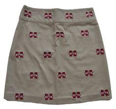 Women's Embroidered Stadium Skirt - Mississippi State (Khaki) by Pennington & Bailes.  Buy it @ ReadyGolf.com