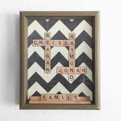 – Chevron Scrabble Shadow Box – Personalized Anniversary Birthday Valentines Event Family Childrens Gift – Scrabble Art by The Charming Lotus on Etsy Scrabble Tile Crafts, Scrabble Art, Craft Gifts, Diy Gifts, Fun Crafts, Arts And Crafts, Family Picture Frames, Childrens Gifts, Personalised Box