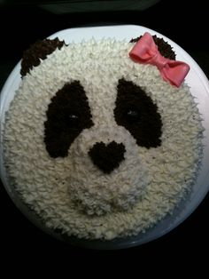 Panda bear cake - buttercream version Panda Bear Cake, Panda Cakes, Teddy Bear Cakes, Panda Birthday Cake, Tea Party Birthday, Panda Party, Animal Cakes, Occasion Cakes, Creative Cakes