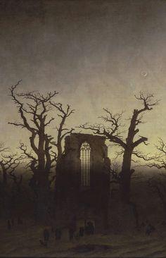 "oldoils: "" Abbey among Oak Trees - detail, oil on canvas (1809/1810)   Caspar David Friedrich """