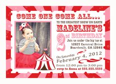 Circus Birthday Invitation - like the wording