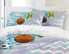 Girls Sports Bedding, Personalized with Name, Basketball, Soccer Ball, Softball, Duvet Cover or Comforter King, Queen/full, Twin xl #444