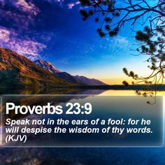 Proverbs 23:9 Speak not in the ears of a fool: for he will despise the wisdom of thy words. (KJV)  #Meditation #Christian #Motivational #Redemption #Holy #JesusSaves #GodIsFaithful http://www.bible-sms.com/