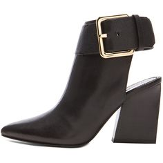 Sigerson Morrison Ice Open Heel Leather Buckle Booties ($347) ❤ liked on Polyvore