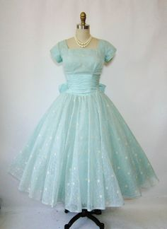 1950's Flocked Chiffon Robin's Egg Blue Dress