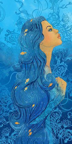 Horoscope for MINI Magazine by Varvara Gorbash, via Behance, Varvara Gorbash Aquarius Zodiac Artwork