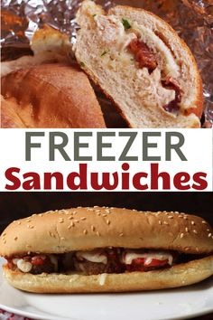 You thought sandwiches were easy? How about FREEZER sandwiches?! Make it quick and easy and totally delicious! Freezer Sandwiches, Grill Cheese Sandwich Recipes, Dinner Sandwiches, Delicious Sandwiches, Freezer Cooking, Freezer Meals, Cooking Recipes, Sausage And Peppers Sandwich, Italian Beef Sandwiches