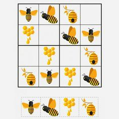 Bee Sudoku Puzzles - Gift of Curiosity Preschool Activities At Home, Body Preschool, Bee Activities, Cross Stitch Embroidery, Cross Stitch Patterns, Bee Crafts For Kids, Printable Puzzles For Kids, Sudoku Puzzles, Simple Pictures