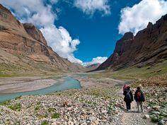 Photo: Pilgrims walk along the Mount Kailash trail in Western Tibet.