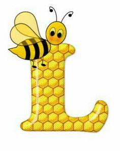 Alphabet letters bee on honeycomb. Alphabet Design, Monogram Alphabet, Alphabet And Numbers, Bee Clipart, Bee Pictures, Scrapbook Letters, Spelling Bee, Bee Party, Cute Bee