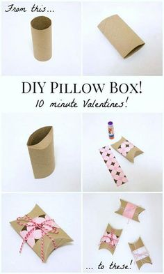 DIY Gift Wrapping Ideas DIY Valentines Pillow Boxes: Turn an empty toilet paper tube into a Valentine pillow box in under ten minutes! Fun Crafts, Diy And Crafts, Crafts For Kids, Paper Crafts, Diy Gifts Paper, Valentines Bricolage, Valentines Diy, Valentine Pillow, Diy Valentine's Pillows
