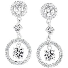 White Gold Rhodium Bonded #Earring Dangles Featuring Prong Set Round Cut CZ in Silver Tone