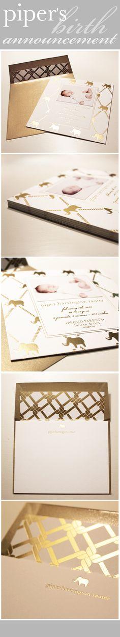 Piper's Birth Annoucement by RockPaperScissor designer Lauren. Love the gold foil elephant and lattice pattern.