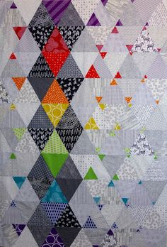Love the triangles! Color Pop by Quilt Matters: Finish-Along 2015 Scrappy Quilts, Baby Quilts, Quilting Fabric, Patch Quilt, Quilt Blocks, Puzzle Quilt, Quilting Projects, Quilting Designs, Quilt Inspiration