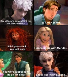 Opposing what Merida and Rapunzal say i think Eugene has a better smolder simply because Jack Frost is not my fave guy disney carecter. Hiccup is, i mean the kid trains dragons! Disney Pixar, Disney Ships, Disney And Dreamworks, Funny Disney Jokes, Disney Memes, Disney Quotes, Disney Facts, Disney Funny Moments, Funny Memes