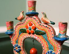 colorful vintage Mexican candelabra, on Etsy. $18