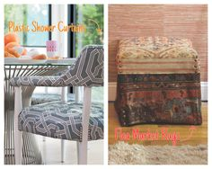 The possibilities are endless when you are looking for a fabric to reupholster.  Use your imagination and find something you love!  I've used shower curtains and even old rugs!