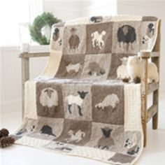 Sheep knit afghan baby intarsia colorwork