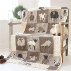 Sheep knit afghan baby intarsia colorwork