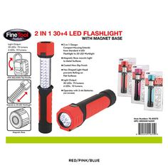 2-in-1 LED Flashlight with Magnet Base - Assorted Colors at 75% Savings off Retail!