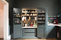 dream pantry cupboard with free standing microwaveby deVOL Kitchens Kitchen Larder Cupboard, Shaker Kitchen, Kitchen Storage, Kitchen Cabinets, Shaker Cabinets, Larder Cupboard Freestanding, Kitchen Larder Units, Kitchen Organisation, Pantry Storage