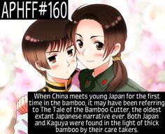 APHFF#160: When China meets young Japan for the first time in the bamboo, it may have been referring to The Tale of the Bamboo Cutter, (Also known as Princess Kaguya.) the oldest extant Japanese narrative ever. Both Japan and Kaguya were found in the light of thick bamboo by their care takers. Given to me by an Anon. Picture: Source ((Boop))