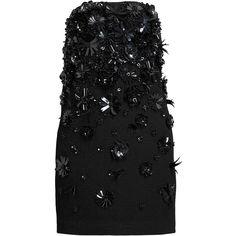 MSGM Strapless Flower Embellished Dress ($885) ❤ liked on Polyvore featuring dresses, black dresses, msgm, strapless cocktail dresses, crepe dress, mini dress and strapless taffeta-embellished dress
