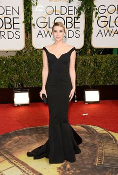 GOLDEN GLOBES 2014 - 3rd #bestdressed is Emma Roberts in a Lanvin black gown, the accesories and hair are perfection