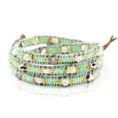 Joseph Nogucci Spring Karma Sale Pistachio Daydream Stone Lotus Wrap Bracelet