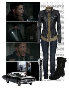 """""""12.Favourite Funny Scene"""" by hannah-banana ❤ liked on Polyvore featuring MuuBaa, CO, Maglite, yellow fever, supernatural and dean winchester"""