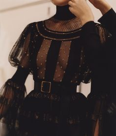 A black sheer lace dress with intarsia polka dots and voluminous sleeves is photographed during fittings in the atelier. Fashion Details, Look Fashion, Runway Fashion, Fashion Show, Fashion Outfits, Womens Fashion, Fashion Design, Fashion Ideas, Fashion Black